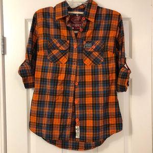 SUPERDRY Orange Plaid Flannel Shirt NWOT Sz Lg